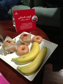 Tony's idea of breakfast in the Dubai Emirates lounge