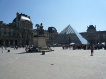 Lining up to get in The Louvre. Busy day.