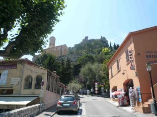 Looking up to the medieval village of Eze