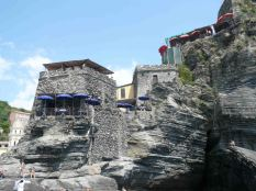 Restaurants adorn the rocks