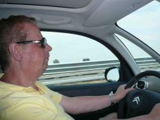 Behind the wheel, a picture of concentration