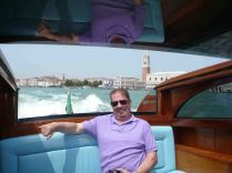 Tony chilling out in the water taxi to Murano
