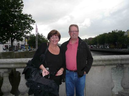 Us on the O'Connell Bridge looking over the River Liffey