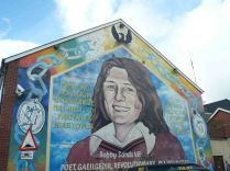 Bobby Sands' mural. He went on a hunger strike in jail and was the first Sinn Fein member to be elected to British Parliament.