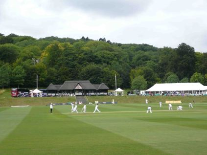 A picturesque view of the pitch and pavilion